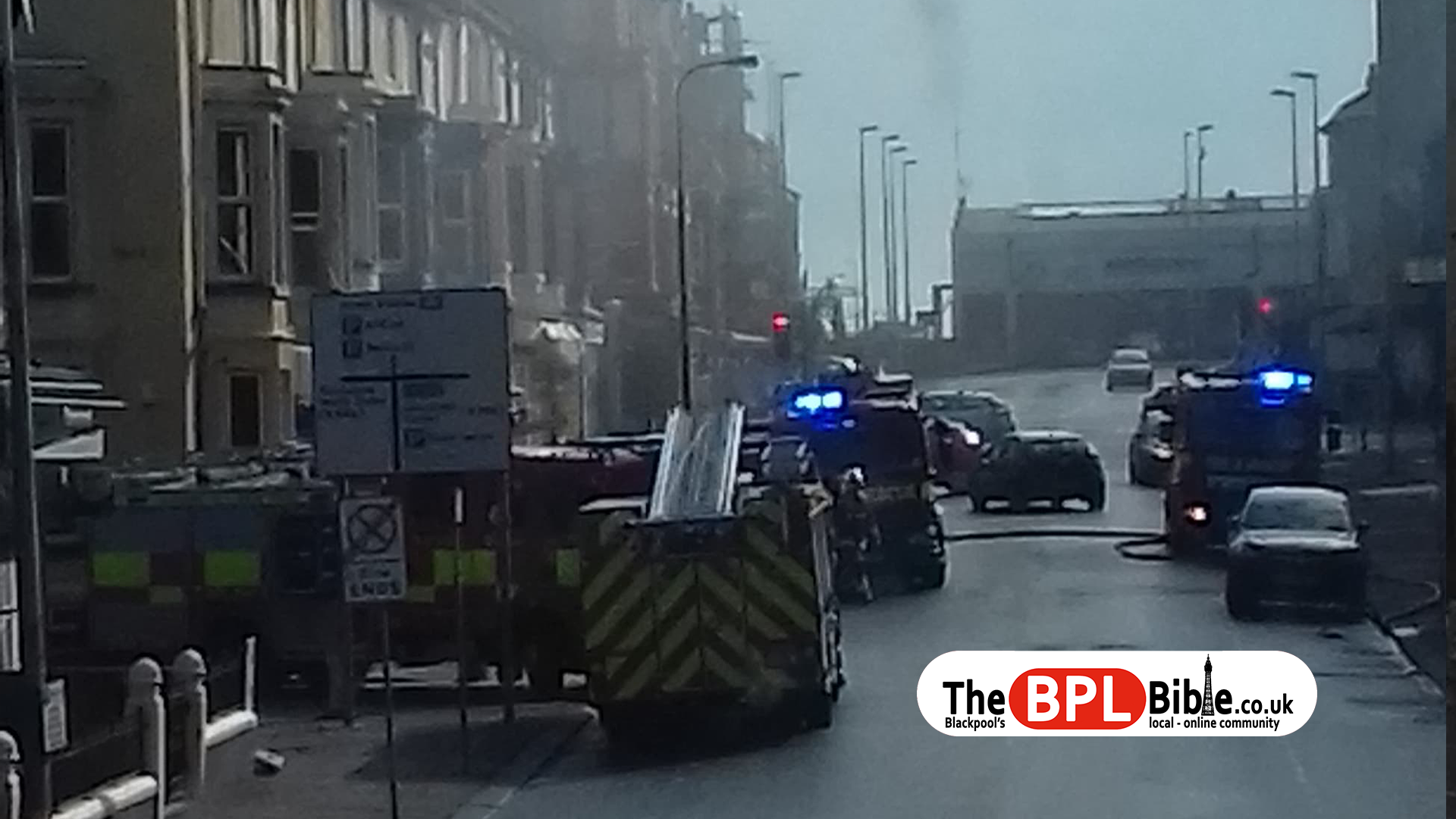 Fire engines attending a blaze on Springfield Road in Blackpool