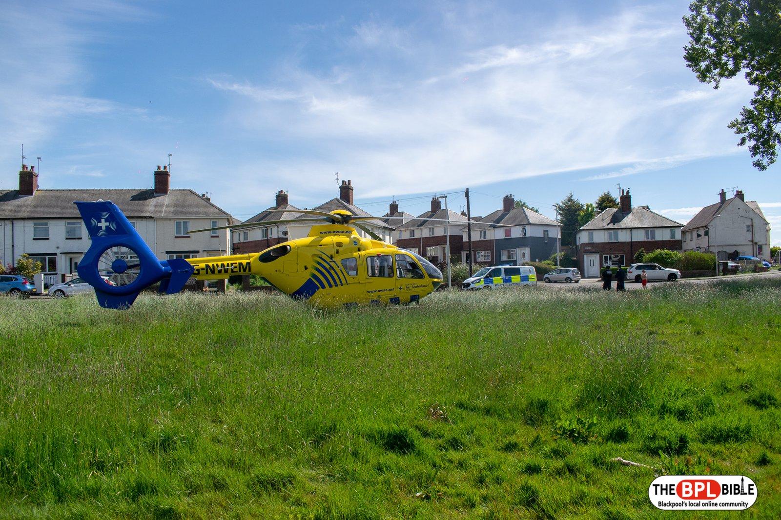 Air ambulance in Layton at same landing site.