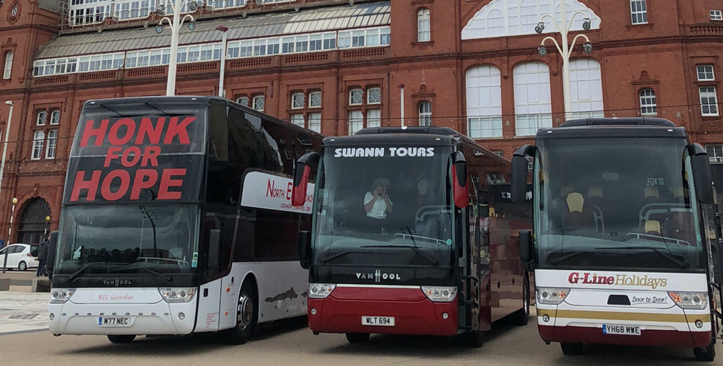 Honk for hope – Why hundreds of coaches convoyed along Blackpool Promenade