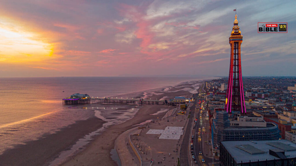 Image of Blackpool's North pier at sunset.